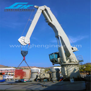 Hydraulic Cylinder Luffing Marine Crane with Air Conditioning Cabin pictures & photos