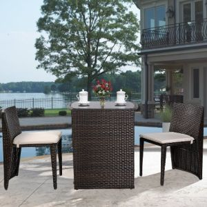 3-Piece Cushioned Outdoor Rattan/Wiker Dining Set