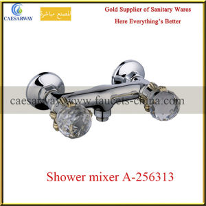 Double Handle Wall Mounted Chrome Shower Faucet pictures & photos