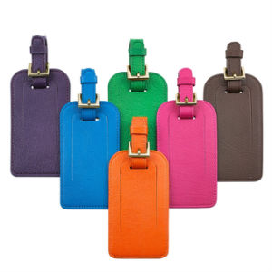 Hot Quality Leather Luggage Tag with Printing Custom Logo pictures & photos