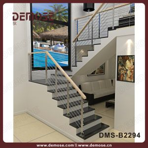 Wood Handrail Wire Staircase Railing Design (DMS-B2294)