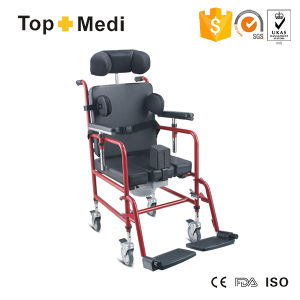 Topmedi Aluminum Reclining High Back Commode Chair with Toilet pictures & photos