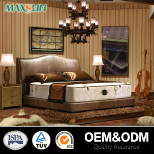Walnut Veneer Bedroom Bed/Wood Bed Set/Leather Bed