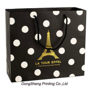 White DOT Coated Paper Gift Shopping Bag for Garment