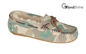 Women′s Moccasin Casual Driving Shoes Slip on Footwear Printed Cowsuede pictures & photos