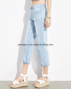 Fashion Women Clothes Light Blue Denim Jeans Harlan Cropped Pants pictures & photos