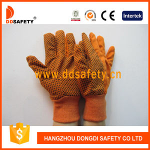 Ddsafety 2017 Orange Canvas Woking Gloves, PVC Dots pictures & photos