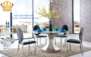 Modern Round Glass 6 People Dining Table Set with Stainless Steel Base pictures & photos