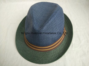 100% Paper Stripe Band Fedora Straw Hat