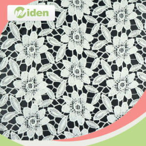 100 % Milky Polyester High Quality Geometric Lace Fabric pictures & photos