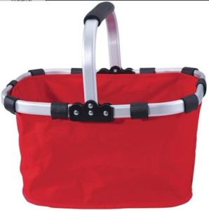 Portable Polyester Foldable Supermarket Shopping Basket for Camping (MC6003) pictures & photos