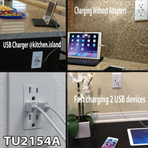 4A High-Speed Dual USB Charger Outlet and 2 Wall Plates pictures & photos