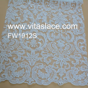 White Flat Embroidery Lace Fabric Manufacture for Lady Garments Fw1912s