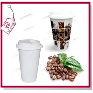 Sublimation Double Wall Ceramic Travel Mug with Lid pictures & photos