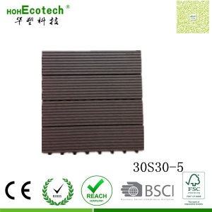 Four Slate Wood Grain Decking DIY Easy Assemble WPC Free Interlocked Tiles 300*300mm pictures & photos