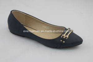 Classic Black Lady′s Ballerinas with Metal Part Decoration pictures & photos