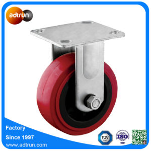 Heavy Duty Fixed 5 Inch Red PU Industrial Wheel Casters pictures & photos