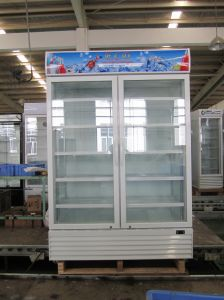 Vertical Glass Double Door Beverage Cooler pictures & photos