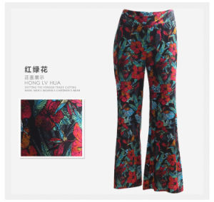 High Quality Women Trousers Meadow Print Wide Leg Women Pants pictures & photos