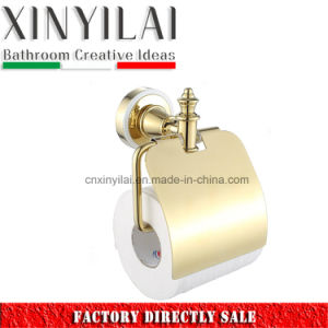 Luxury Bathroom Wares PVD Golden Toilet Paper Holder with Cover pictures & photos