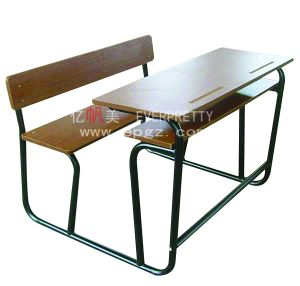 2015 Best Seller Blue Double Student Table and Chair with Steel Frame pictures & photos