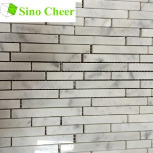 Carrara White Marble Natural Stone Random Strip Mosaic pictures & photos