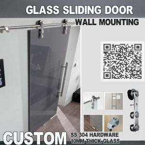 Glass Barn Sliding Doors. Complete Sliding Door System, Top Rail, Slide Roller, Door Stoppers, Floor Guide