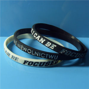 "Customized 1/4"" New Design High Quality Debossed Color Filled Silicone Bracelets with Free Samples pictures & photos"