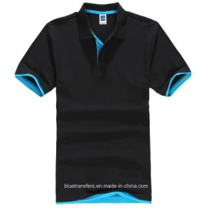 65% Cotton Polo T-Shirt with Short Sleeve in Contrast Colors pictures & photos