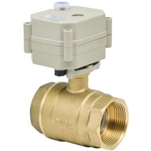 2 Way 1-1/4′′ Motorized Brass Ball Valve Electric Water Valve with Manual (T32-B2-B) pictures & photos