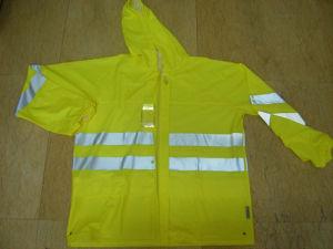 Fluorescent Green PU Motorcycle Rain Coat Jacket Rainwear pictures & photos