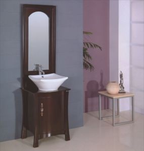 Floor Solid Wood Bathroom Furniture (B-195) pictures & photos