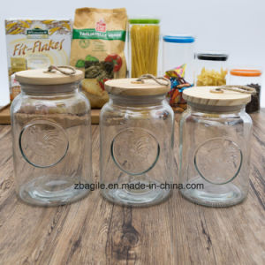 Factory Wholesale Bottle Transparent Round Rooster Elegant Storage Glass Jar (100085) pictures & photos