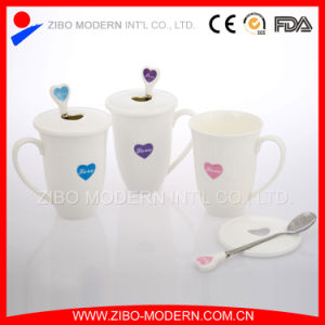 Bone China Coffee Mug with Spoon and Lid pictures & photos