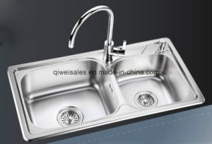 Stainless Steel Handmade Kitchen Sink with Soap Container (QW-8143) pictures & photos