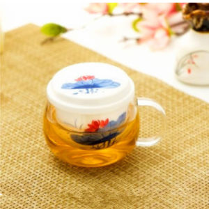 Flower Design Glass Tea Cup with Ceramic Filter Tea Glass Gift Cup pictures & photos