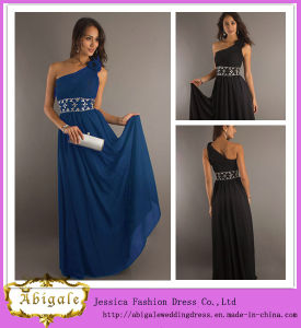 Elegant Empire Sleeveless Ruched One-Shoulder Empire Beaded Flower Long Evening Gowns in India Yj0055 pictures & photos