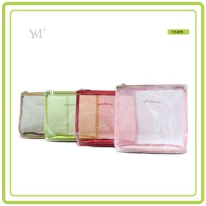 Portable Fashion Travel Promotional Custom Clear PVC Mesh Cosmetic Toiletry Makeup Woman Bag pictures & photos
