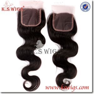 Brazilian Remy Human Hair Lace Closure Hair Extension pictures & photos