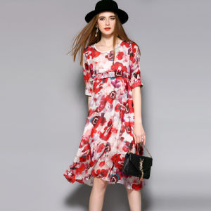 Silk Floral Loose Elegant Women Evening Dress with Ruffle pictures & photos