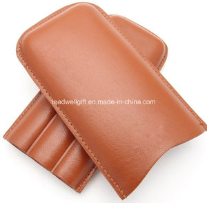 Leather Cigar Pouch for 3 - Authentic Full Grade Buffalo Hide Leather - Tan pictures & photos