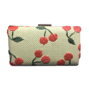 Hand Embroidery Red Cherry Woven Clutch Bag pictures & photos