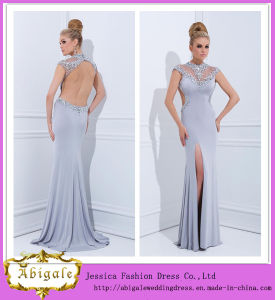 2014 New Designer Elegant High Collar Cap Sleeve Backless Long Chiffon Evening Gown with Side Slit (MN1810)