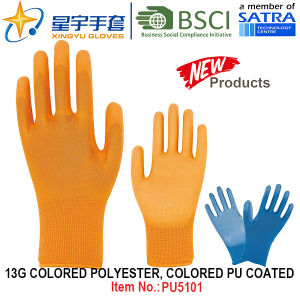 13G Colored Polyester Shell Colored PU Coated Gloves (PU5101) with CE, En388, En420, Work Gloves pictures & photos