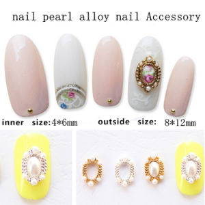 Nail Pearl Alloy Oval Shape Nail Charm Accessory