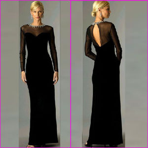 Custom Designer Evening Dresses Round Neck Black Chiffon Long Sleevele Prom Dress Jeweled Mother of The Bride Dress Party Dresses Wedding Formal Gowns (MT01)