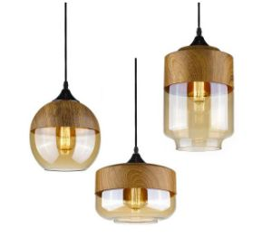 Elegant Glass Pendant Lamp with Wood Finish (WHP-0149) pictures & photos