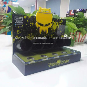 Customized Black and Yellow Acrylic Counter Display with 5 Tubes, Professional L Stand Acrylic Display Rack Manufacturer China pictures & photos
