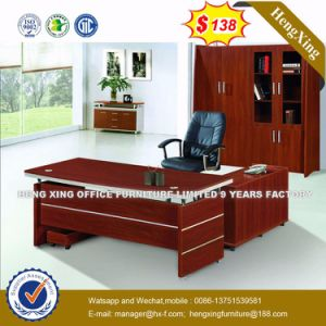 Side Extension Table Attached Walnut Melamine Office Desk (HX-TA004) pictures & photos