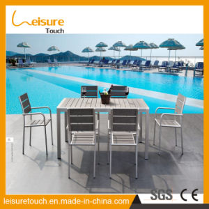 European Style Cafe Wiredrawing Aluminum Polywood Chair Table Set Modern Garden Restaurant Outdoor Patio Furniture pictures & photos